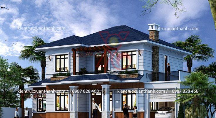 Kết hợp phong cách hiện đại trong kiến trúc biệt thự mái thái.